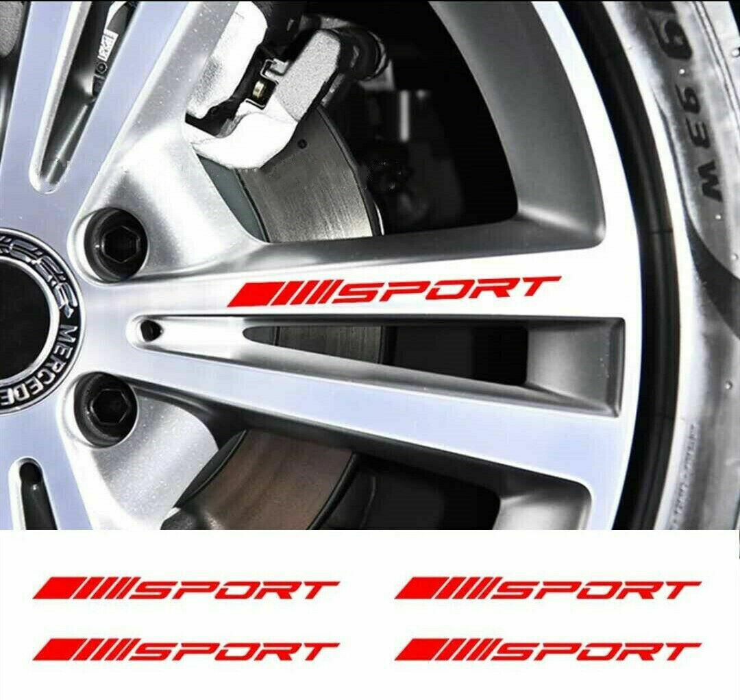 4pc Wheels Rims Sport Racing Decal Stripes Stickers Emblem Race Car SUV Truck