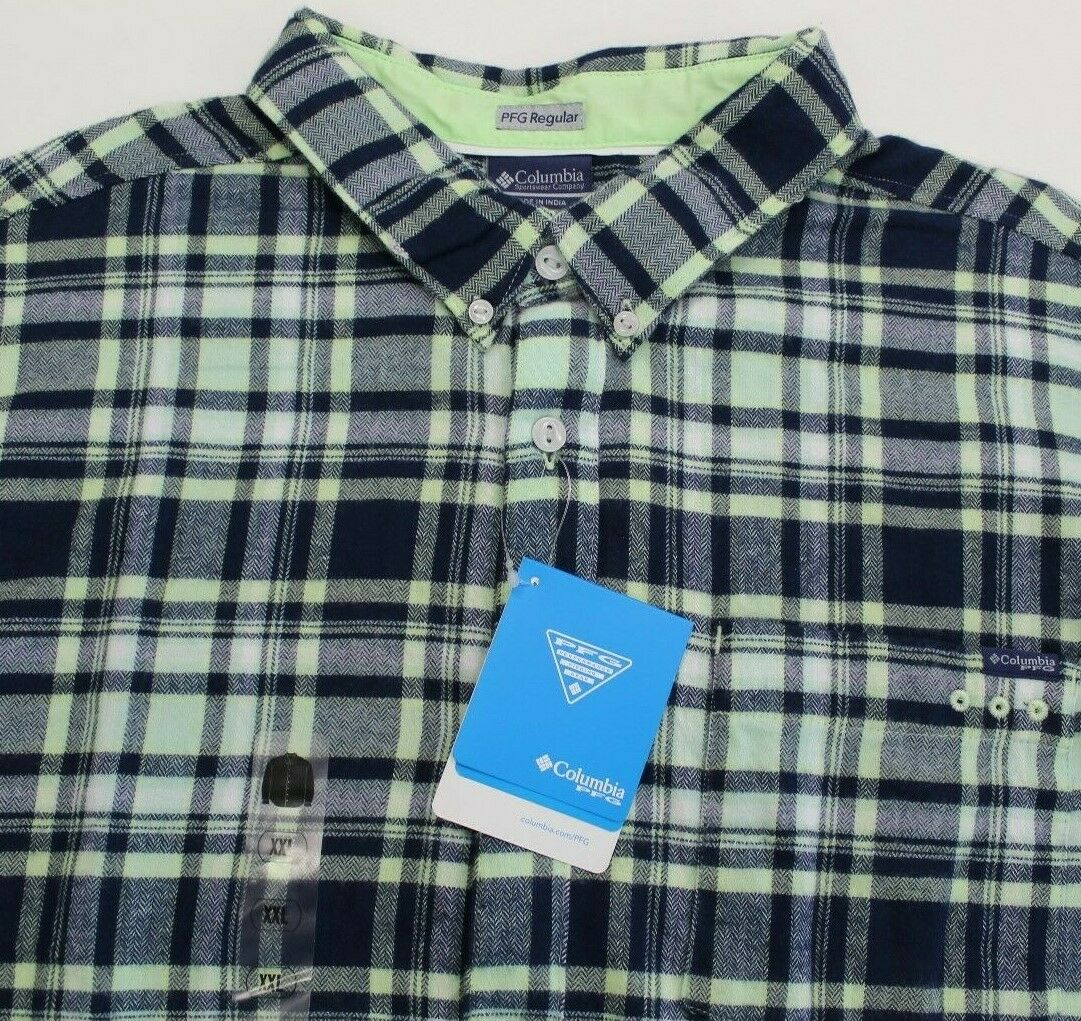 Columbia PFG Harborside Flannel Fishing Shirt Plaid Mens Lar