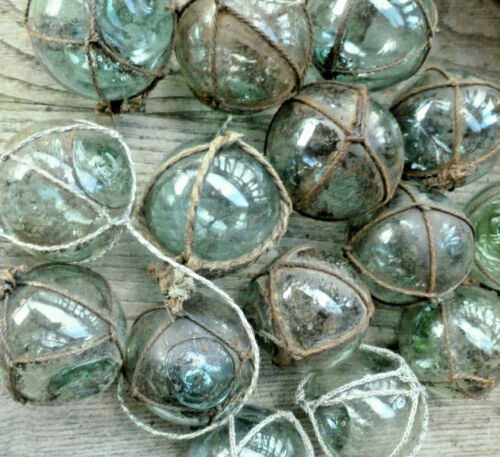 "Japanese Glass Fishing Floats 2"" Lot-15 NETTED Dirty Rust Tar Industrial Grubby!"