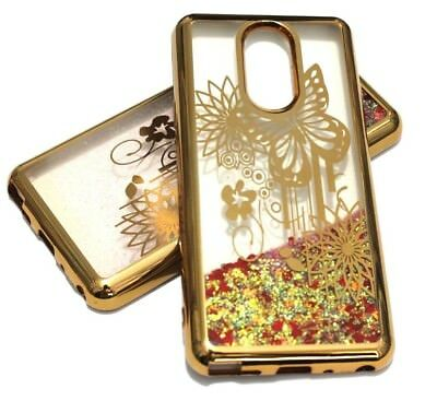 For LG Stylo 4 - Gold Chrome Butterfly Red Hearts Glitter Liquid Skin Case Cover - Red Hearts