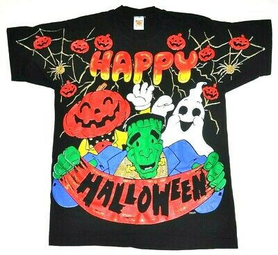Freeze Happy Halloween Vintage 90s Graphic Tee tshirt Frankenstein Pumpkin - Frankenstein Halloween Pumpkin