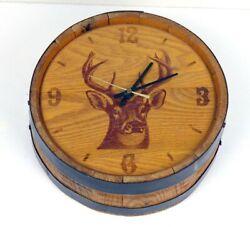 Whiskey Barrel Whitetail Deer Wall Clock Wood Decor Rustic Cabin Hunt VTG 10.5