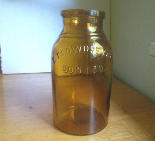 GOLDEN AMBER E.T.COWDREY & CO BOSTON 1880s PICKLE BOTTLE BOLD EMB SHINY NICE