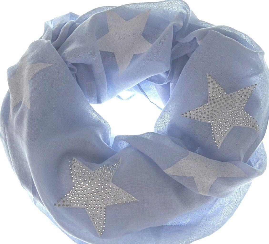 LOOP Rundschal mit Sternen Muster Glitzer Nieten STARS Schal Neu