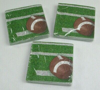 3 PACKAGES OF 18 FOOTBALL THEMED PARTY NAPKINS 54 TOTAL - Football Themed Party