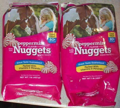 LOT OF 2 MANNA PRO PEPPERMINT FLAVOR NUGGETS HORSE TREATS 1LB.