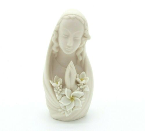 Dorothy Okumoto Praying Madonna Virgin Mary Plumeria Porcelain Hawaii RARE