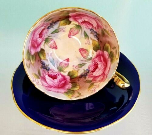 Rare Cobalt Blue Teacup & Saucer Aynsley Cabbage Rose England 4 Roses w Buds