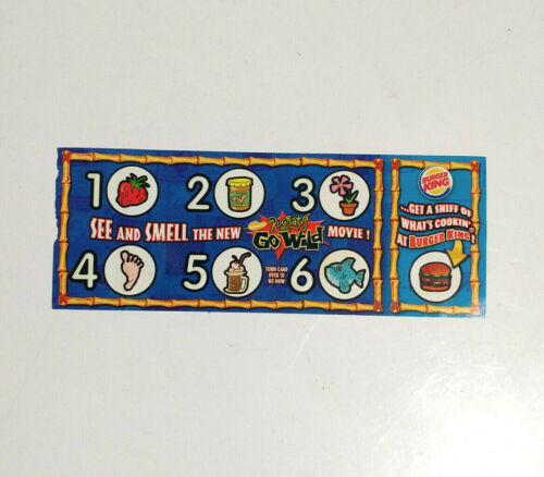 2003 Rugrats Go Wild Movie Scratch And Sniff Burger King Card Rare