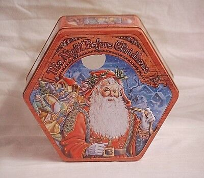 Vintage Advertising Ad The Night Before Christmas Litho Tin Can Container w Lid ()