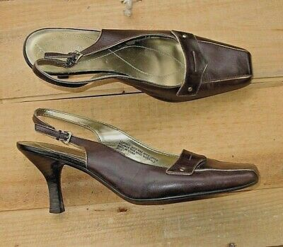 Nickels Soft Slingback Heels Chocolate Brown Leather w Soft Gold Detailing~ 9M