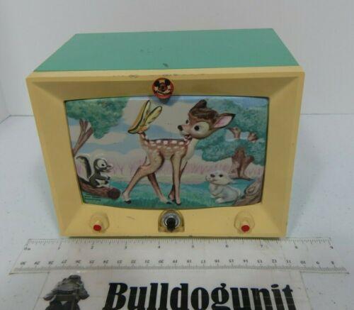 Vintage Bambi Hankscraft Walt Disney Wind-Up Music Box Night Light Nite Lite Toy