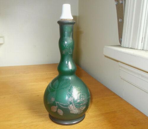 ANTIQUE 1890 ORIGINAL PONTILED TEAL GREEN BARBER BOTTLE WITH PORCELAIN STOPPER