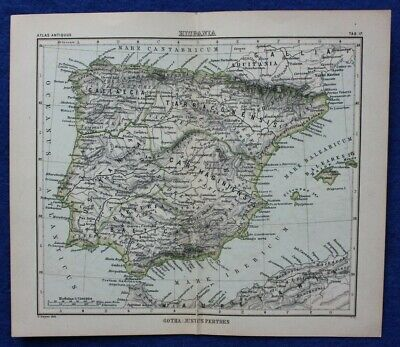 HISPANIA, ANCIENT SPAIN & PORTUGAL, original antique map, Justus Perthes, 1898