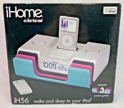 iHome iH56 iPod Silver Player Charger Radio Alarm Clock Remote Plug & Inserts