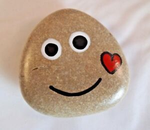 Hand painted rocks, stones, pebbles. Smiley pebble with love heart fridge magnet