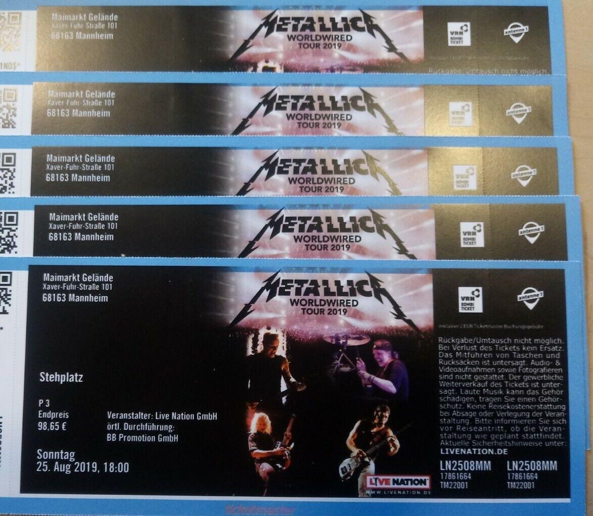 Metallica Karten World Wired Tour Mannheim 25.8.2019