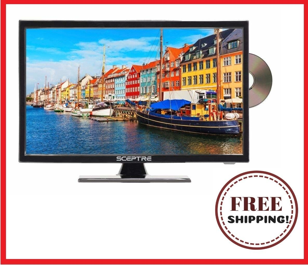 """LED TV 19"""" Class 720P HDTV with Built-in DVD Player Wall-Mou"""