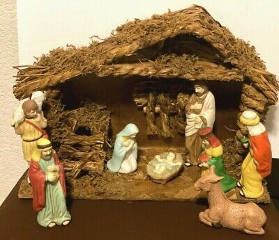 Studio 5 Bisque Porcelain Nativity Set 8 Piece with Wood Stable