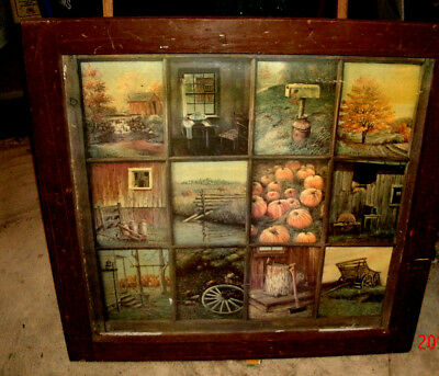 "26"" square framed picture without glass painted with 12 frames showing farming i"