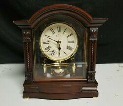 Bulova Bardwell Antique Walnut Wood Finish Polished Brass Mantle Clock