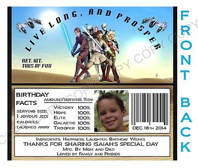 Star Wars Clone Wars Hershey Candy Bar Label Wrapper Party Favor Personalize  - Personalized Hershey Bars