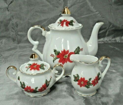 Vintage Lefton POISETTIA Teapot Creamer & Sugar Bowl w/Lid 4 pc Set White 1987