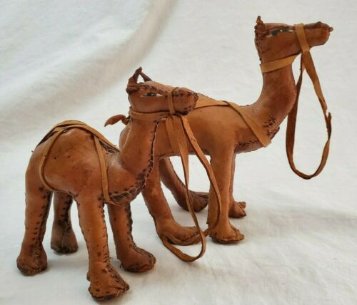 VINTAGE Set of 2 Small & Large  Hand Made Leather Camel Figurines