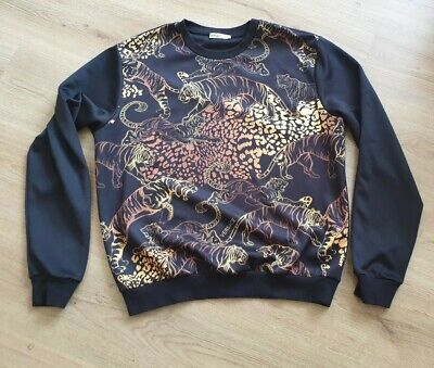 Versace Jeans Designer Mens Tiger Print Sweatshirt Jumper - Size large