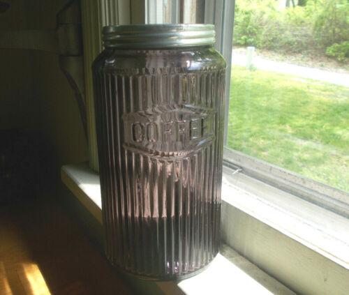 1912 AMETHYST GLASS RIBBED COFFEE JAR & ORIGINAL LID FROM HOOSIER CABINET SET