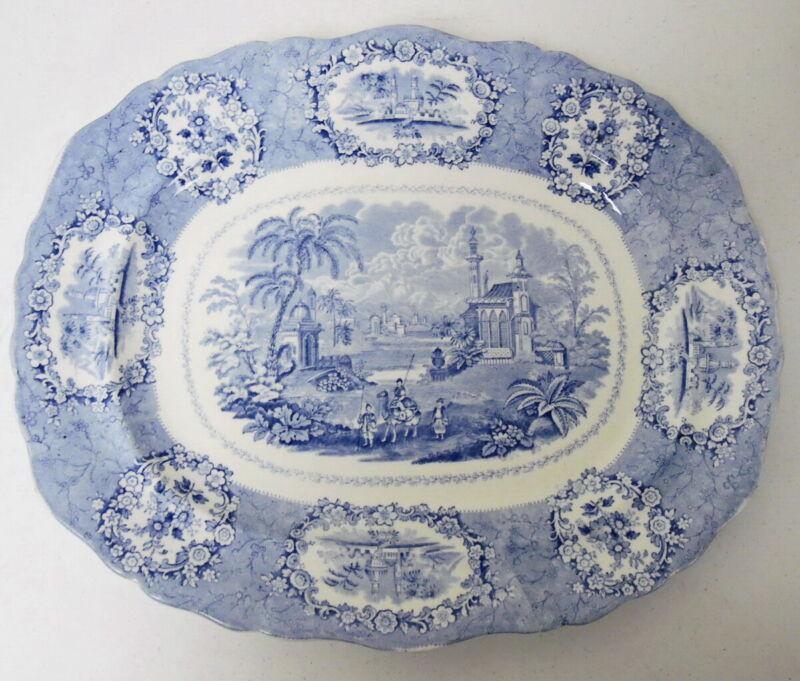 """Antique Staffordshire 17"""" Ridgeways Oriental Blue & White Serving Platter"""