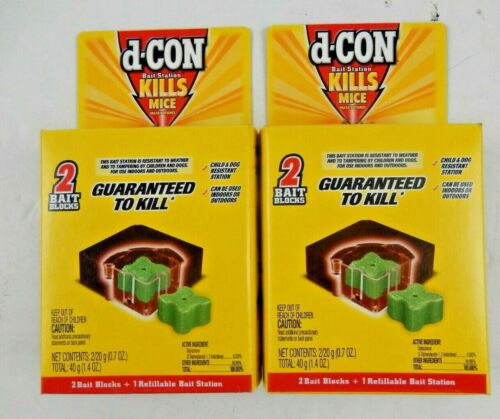 2x d-Con Bait Station Kills Mice Indoor/Outdoor Refillable  Child Resistant