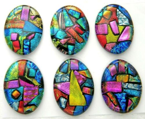 Lot 6 pcs OVAL DICHROIC FUSED GLASS pendant (L21) CAB HANDMADE
