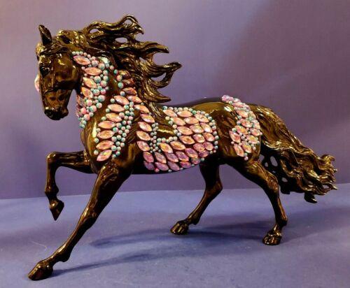 BREYER MODEL HORSE - CUSTOM FINISHED BLACK ANDULUSIAN WITH GORGEOUS RHINESTONE D