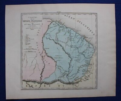Original antique map FRENCH GUIANA, 'GUYANE FRANCAISE', Levasseur, Fisquet, 1878