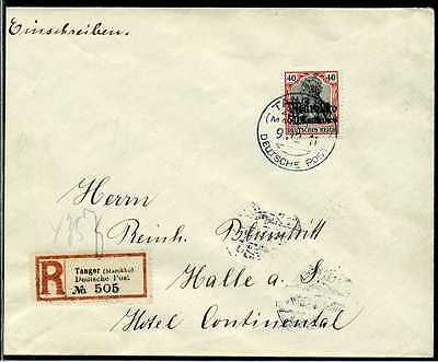 DP Marokko Mi 52  Reko-Brief  Tanger   Halle/Saale   1911