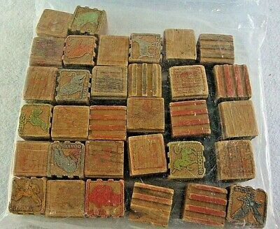Vintage Classic Wooden Children's Building Blocks~Alphabet~Pictures~Numbers~ABCs