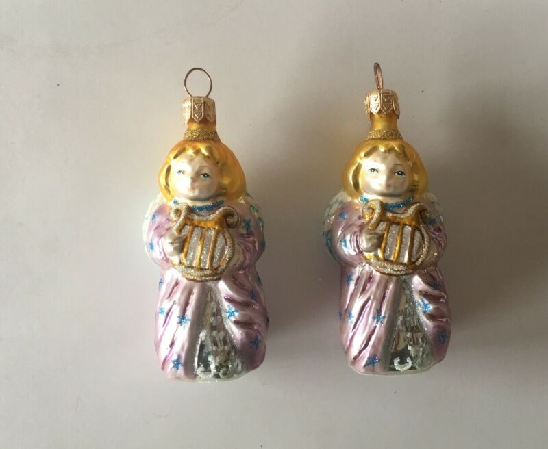 BEAUTIFUL MERCURY GLASS PAIR OF LYRE ANGEL WITH GLITTER CHRISTMAS ORNAMENTS