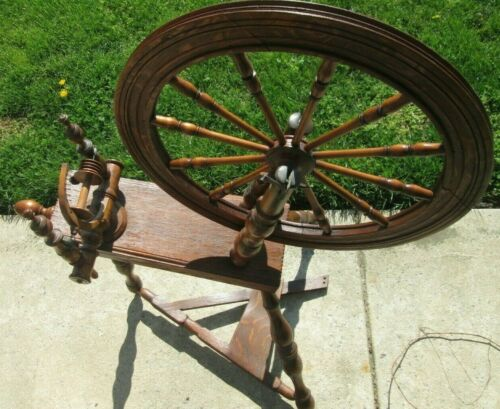 """Vintage Traditional Saxony Spinning Wheel Marked """"IA"""" - Missing Birdcage"""
