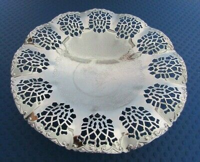 VINTAGE SILVER PLATED FRUIT BOWL ON STAND - PIERCED DESIGN CIRCULAR SERVING DISH