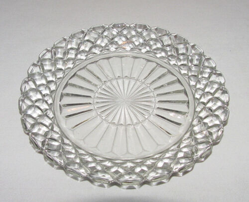 "PERFECT PAIR Vintage Hocking ""WATERFORD WAFFLE"" Crystal Salad Plates!"