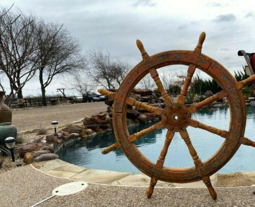Antique 19th  Century Wood SHIPS STEERING WHEEL Nautical Marine Beach decor