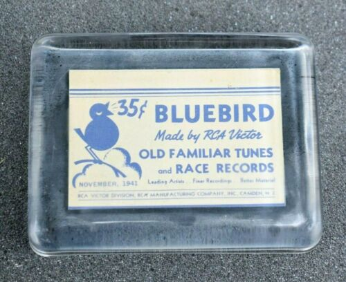 RCA VICTOR 1941 Advertising Card Inside Glass Paperweight Bluebird Records Ad