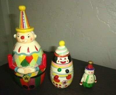 Clown Nesting Dolls Wooden