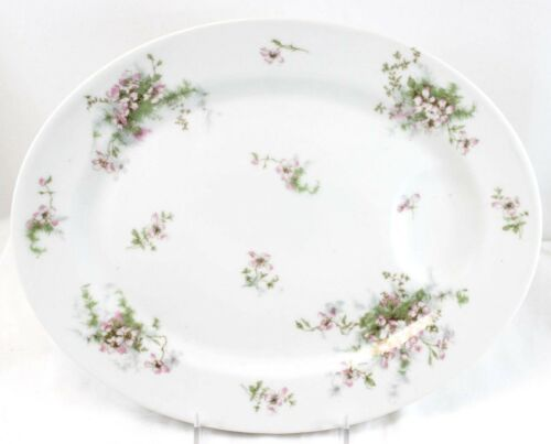 ANTIQUE THEO HAVILAND LIMOGES FRANCE CHINA OVAL SERVING PLATTER PINK FLORAL MINT