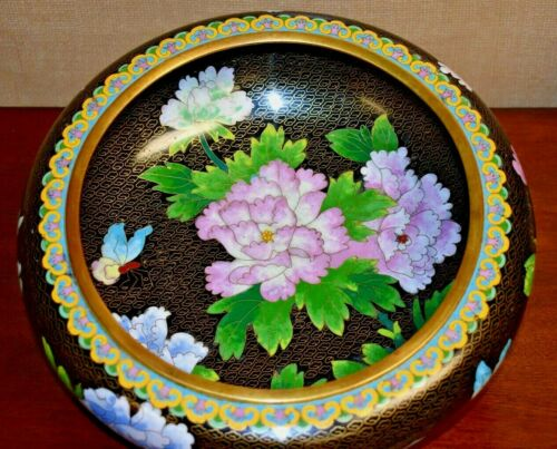 """LARGE VINTAGE 12"""" CHINESE CLOISONNE BOWL & ROSEWOOD STAND MID-20TH CENTURY"""