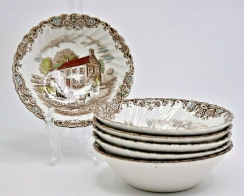 """Set of 6 Heritage Hall Pennsylvania Fieldstone 6"""" Soup Cereal Bowl 4411 Perfect"""