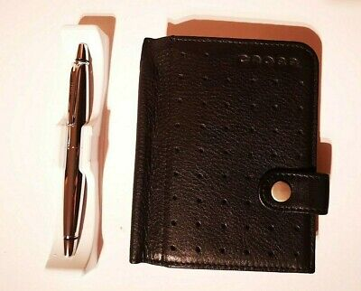 Cross Autocross Leather Collection Mini Agenda Soft Leather Black With Pen