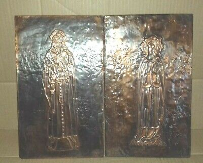 PAIR of TWO RETRO COPPER MEDIEVAL MONK & LADY IN WAITING WALL PLAQUES    (ST9)