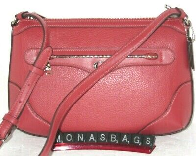 Coach F72839 Ivie Zip Top Messenger Crossbody Washed Red Leather Handbag NWT$328